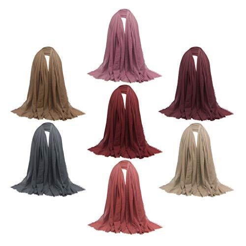 B Baosity Paquete de 7 Bufandas Largas de Algodón con Estilo, Liso, Plisado, Turbante Judío Hijab, Pañuelo en La Cabeza
