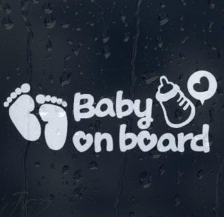 LeSo  © Baby on Board Auto Aufkleber Car Sticker Fussabdrücke Flasche Grau reflektierend S034