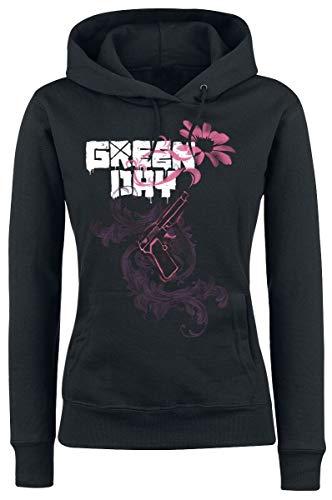 Green Day Gun Flower Mujer Sudadera con Capucha Negro M, 80% algodón, 20% poliéster, Regular