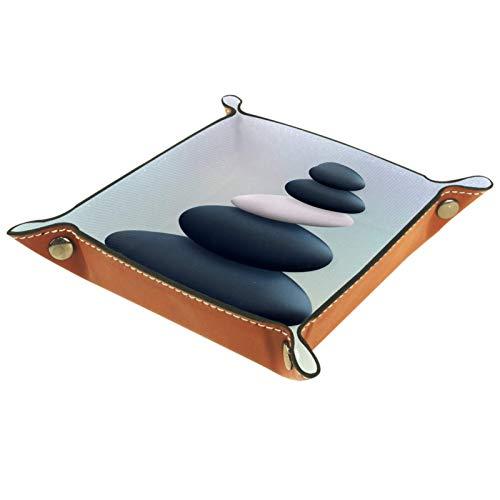 LynnsGraceland Bandeja de Cuero - Organizador - Piedra de Aguas Termales - Práctica Caja de Almacenamiento para Carteras,Relojes,Llaves,Monedas,Teléfonos Celulares y Equipos de Oficina