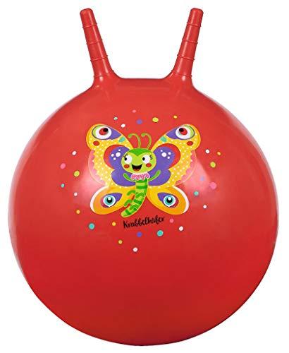 Moses. 16129 Krabbelkäfer Hüpfball Schmetterling in rot | Bouncing Ball für Kinder ab 4 Jahren | Indoor-und Outdoor-Spielzeug zum Sitzen und Hüpfen