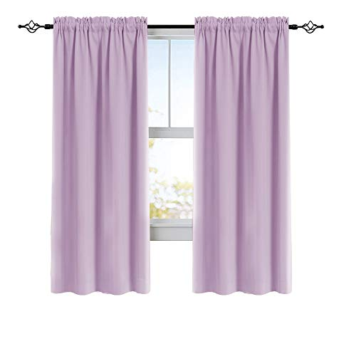 Rod Pocket Curtains for Bedroom Room Darkening French Door Curtains 72 Inches, 2 Panels, Lilac