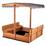 Kids Sand Boxes with Canopy Sandboxes with Covers Foldable Bench Seats, Children Outdoor Wooden Playset - Upgrade Retractable Roof (47x47Inch)