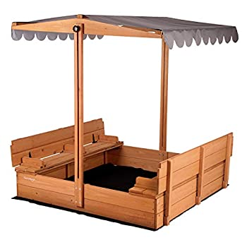 Kids Sand Boxes with Canopy Sandboxes with Covers Foldable Bench Seats Children Outdoor Wooden Playset - Upgrade Retractable Roof  47x47Inch