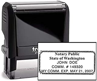 Washington Rectangle Notary Stamp -WA Official Notary Stamp - Enter Custom Text