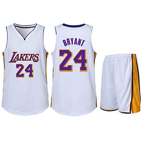 TEZAI Kobe Bryant Jersey gelb, Los Angeles Lakers 24 Trainingsanzüge mit Oberteilen und Hosen, Polyester, Niedertemperaturtrocknung, Maschinenwäsche-White-XXXS
