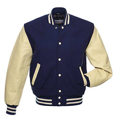 Varsity Letterman Jacket Navy Blue Wool & Cream Leather,C141-M