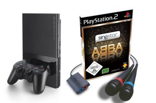 PlayStation 2 - PS2 Konsole, black inkl. SingStar ABBA + Mikrofone