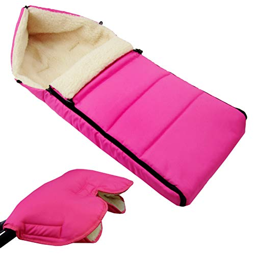 Bambiniwelt - Saco de invierno para cochecito de bebé, 108 cm, lana de cordero, color rosa