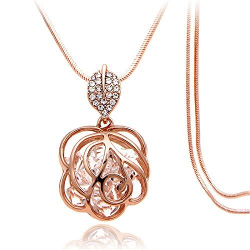 Palm kloset Collar Flor Colgante Collar Mujer Europa y América Moda Larga suéter Cadena Diamond Rose Oro