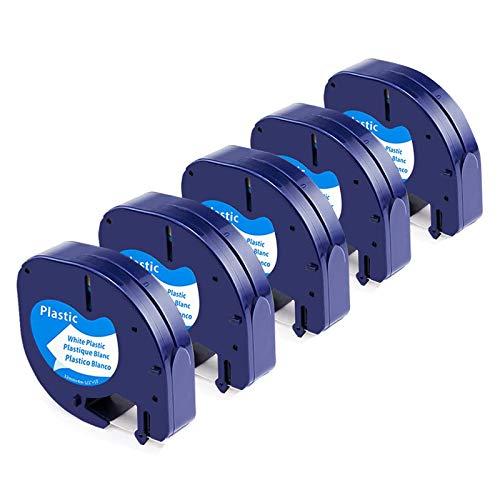 Upwinning-kompatibles Etikettenbandersatz für Dymo LetraTag Kunststoff bänder 91201 12 mm x 4 m, Wasserdicht Schwarz auf Weiß Etiketten Nachfüllung für Dymo LT LT100H LT100T LT110T XR QX50, 5er-Pack