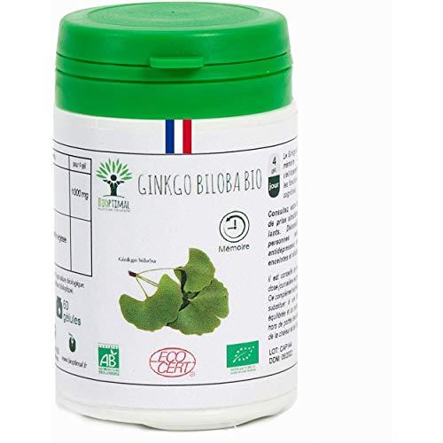 Ginkgo Biloba bio - Bioptimal - Complément alimentaire - Mémoire - Circulation - Vertige - Made in France - Certifié par Ecocert - (60 gélules)