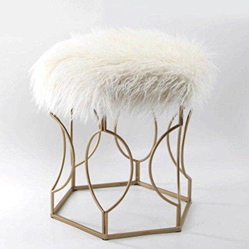 Tabouret velu en métal mode maquillage tabouret tabouret tabouret chaise à manger table tabouret (Couleur : Blanc, taille : H51cm)