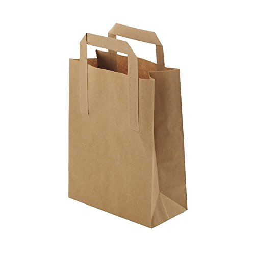 BIOZOYG Umweltschonende Papier Tragetaschen groß I Papiertüten Geschenktüten Papiertragetaschen biologisch abbaubar, kompostierbar I 250 x braune Papier Tüten 26 x 12 x 35 cm