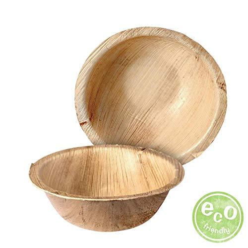 Palmplate hochwertiges umweltfreundliches Einweggeschirr aus Palmblättern, kompostierbar, biologisch abbaubar, 25 Stück Palmblatt Schale, rund, 425 ml, 15cm Einwegschale Wegwerfgeschirr