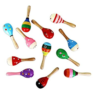 Dazzling Toys Mini (5 Inch) Wooden Fiesta Maracas - Pack of 12 - Assorted colors and designs