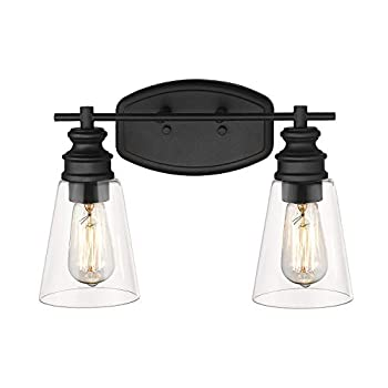 2-Light Vanity Light HANASS Bathroom Light Fixtures with Clear Glass in Black Finish Farmhouse Dimmable Bath Armed Sconce MBA99987-2