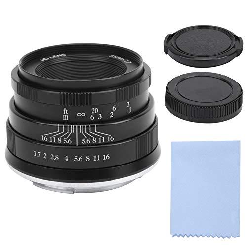 Mavis Laven Lente de cámara 35 mm F1.7 Lente Manual de Enfoque Fijo de Retrato de Gran Apertura para Canon M3 / M5 / M6 / M6 II Lente de Gran Apertura(Negro)
