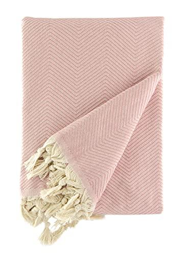 BOHORIA® Premium Tagesdecke Tulum - Bettüberwurf Wohndecke Wendedecke Kuscheldecke Sofadecke mit Muster   extra-groß 170 x 230 cm (Blush)