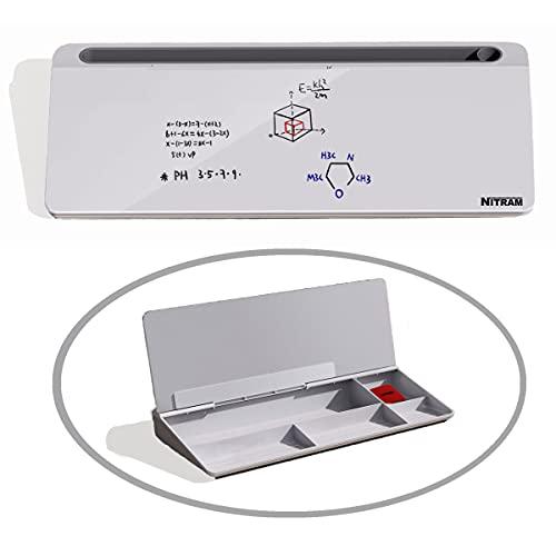 NITRAM Pizarra blanca de cristal para escritorio u oficina con almacenamiento para material de oficina y ranura para tablet/móvil. Dimensiones: 40,5 x 18,5 x 6 cm. Incluye borrador.