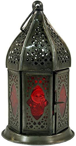 Guru-Shop Orientalische Metall/Glas Laterne in Marrokanischem Design, Windlicht, Rot, Farbe: Rot, 14x6x6 cm, Orientalische Laternen