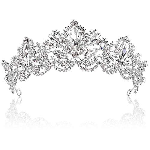 Tiara corona de cristal Tiaras para novia, coronas de boda, diamantes de imitación, reina, accesorios para el cabello para mujeres y niñas, diadema de princesa (plata)
