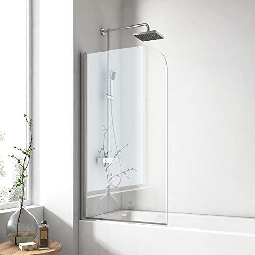 EMKE 100x140cm Badewanne Duschwand mit NANO einfach-Reinigung Beschichtung 6mm Sicherheitsglas (70x140cm, Schwingtür)