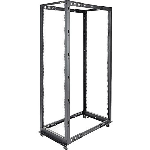 "StarTech.com 42U Open Frame Server Rack - 4 Post Adjustable Depth (22"" to 40"") Network Equipment Rack w/ Casters/Levelers/Cable Management (4POSTRACK42),Black"