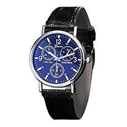 Bokeley Men' Watch Fashion/Casual/Business/Luxury Mineral Quartz Dial Leather/Brass and Silver Toned Case (A)