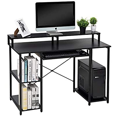 TOPSKY Compact Computer Desk with Storage Shelves/Keyboard Tray/Monitor Stand Study Table for Home Office from TOPSKY