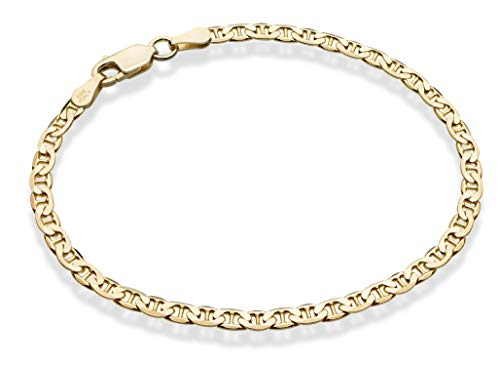 Miabella 18K Gold Over Sterling Silver Italian 3mm, 4mm Solid Diamond-Cut Mariner Link Chain Anklet Ankle Bracelet for Women, 9, 10 Inch Made in Italy