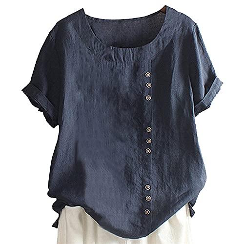 Nueva Camiseta de túnica de Lino de algodón para Mujer Tops de Jacquard Lino Gran tamaño Blusas de Verano de Talla Grande para Mujer Jersey de Manga Corta y Lino Suelto Camiseta de Cuello Redondo