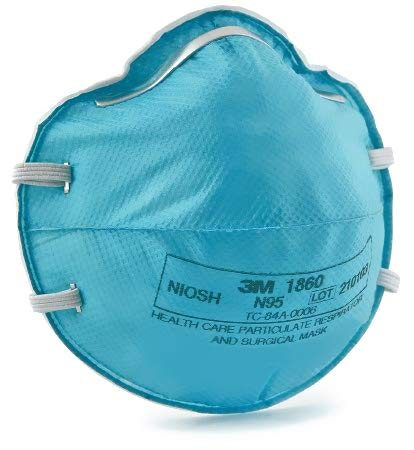 3M 1860 NIOSH Approved N95 Medical Respirator, Adult-5 Masks(bag)