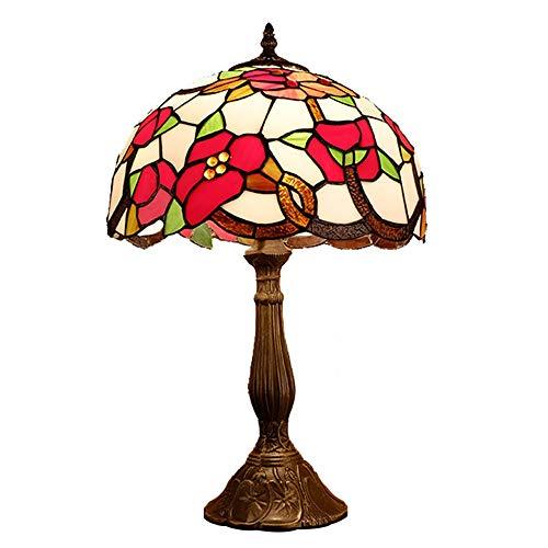 Lámpara Escritorio Lámpara estilo tiffany vitrales lámpara de mesa sala de estar sala de estar sala de comedor dormitorio noche lámpara de noche rural creativo rojo flor de flor de la luz 30 * 50 cm