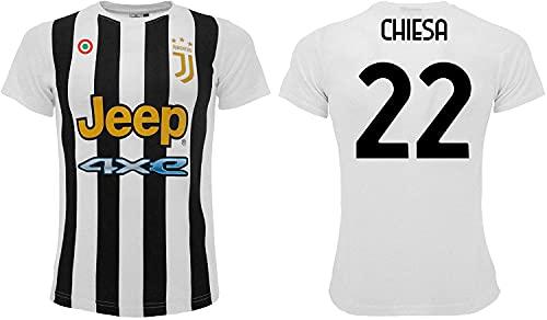Sportbaer Camiseta de fútbol Federico Chiesa temporada 2021 2022. Camiseta blanca y negra número 22. Primera camiseta. Réplica oficial autorizada. Tallas de adulto y niño., blanco, 12 años
