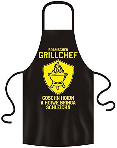 Soreso Design Boarischer Grillchef Grillschürze für Männer : Grillzubehör - lustiges Geschenk für einen echten Bayer Farbe: schwarz
