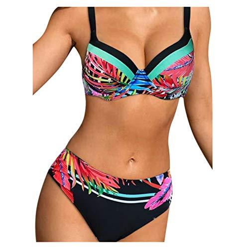 Damen Badeanzug Tankini Bauchweg Bademode Einteiler Swimsuit Schwimmanzug Rückenfreie Bikini Set Figurformend Raffung Zweiteilige Push Up Strandkleidung Bikinioberteil