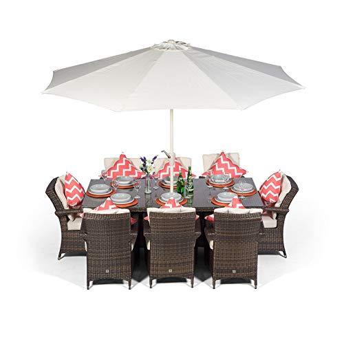 Arizona Rattan Dining Set | Rectangle 8 Seater Brown Rattan Dining Set | Outdoor Poly Rattan Garden Table & Chairs Set | Wicker Garden Dining Furniture Set + Parasol & Cover