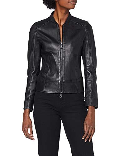 BOSS Leather_Jacket Chaqueta de Cuero, Negro1, 40 para Mujer