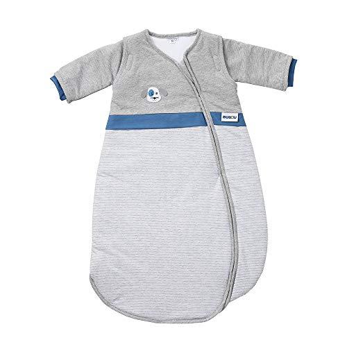 Gesslein 772106 Bubou - Saco de dormir para bebé con mangas desmontables para todo el año, con regulación de la temperatura, para todo el año, 90 cm, rayas gris jaspeado con perro, gris, 480 g