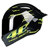 IAMZHL Casco moto integrale in fibra di carbonio Casco professionale da corsa Kask   Rainbow Visor Motocross Off Road Touring -Gloss 1-3-M
