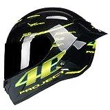 IAMZHL Casco moto integrale in fibra di carbonio Casco professionale da corsa KaskRainbow Visor Motocross Off Road Touring-Gloss 1-3-M