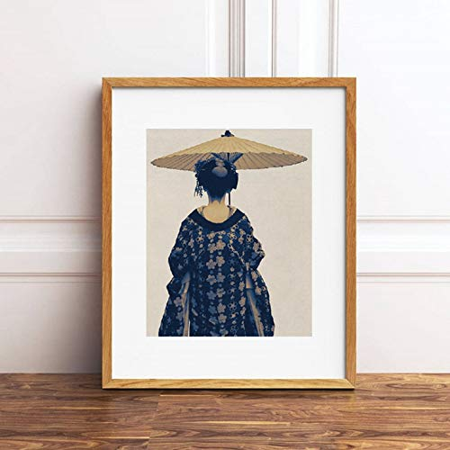 Gudojk muurschildering op canvas, Chic Women Photo Painting Wall Art op canvas Kimono Art Blue Beige Above The Bed Stampe Home Bohemian Home Decor 70x100cm(28x40inch)