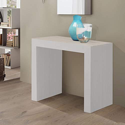 Party Fresno blanco–Consola Extensible 100% italiana, 90x 45cm. Diventa un sólido mesa extensible hasta a 3mt. (12plazas)–veta Fresno elegante y cómodo también al tacto, come madera