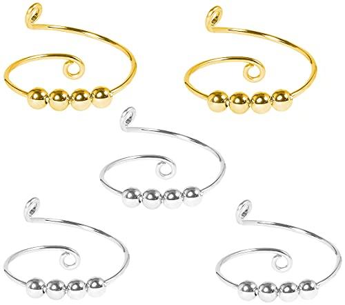 Anillos de ansiedad de 5 piezas para mujeres, hombres, anillos de banda giratoria, anillos Fidget para ansiedad, anillos ajustables finos de plata Terling Spinning Fidget (oro + plata)