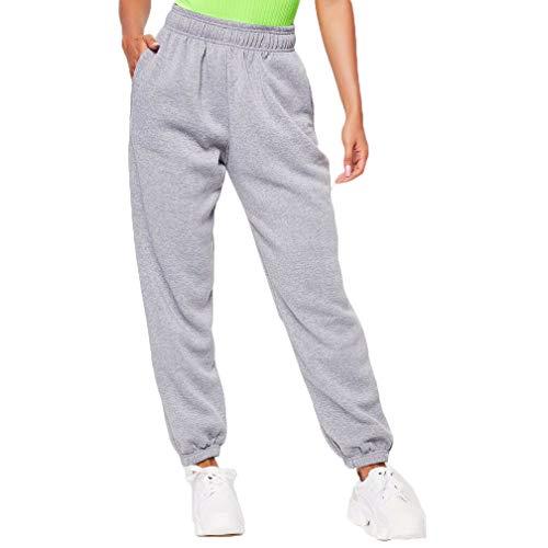Women Sweatpants Cinch Elastic High Waist Dance Jogger Sports Ladies Casual Cotton Baggy Trousers Pockets (S, A-Grey)