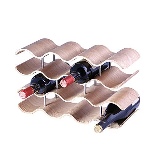 Durable MarróN Simple Estante de Vino Tablero De Madera De Tres Capas Estables Titular de Vino Adorno Desmontable Botellero Vino para El Hogar Almacenados Once Botellas De Vino