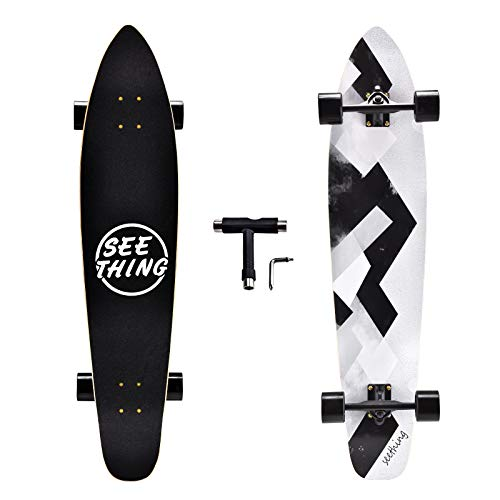 42 Inch Longboard Skateboard Complete Cruiser,The Original Artisan Maple Skateboard Cruiser for Cruising, Carving, Free-Style and Downhill(Geometry)
