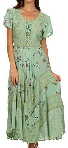Sakkas 32311 Calliope Korsett-Art-Kleid - Sage Green - S/M