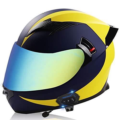 Bluetooth Casco Moto Modulare,Doppia Visiera Parasole Con Antiappannamento per Casco Ciclismo Universale Quattro Stagioni Mofa Incidente Ciclomotore Chopper ECE/DOT Omologato S,L